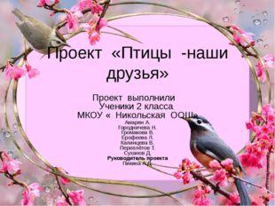 Проект «Птицы -наши друзья» Проект выполнили Ученики 2 класса МКОУ « Никольск