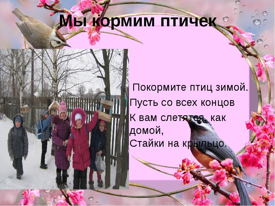 Мы кормим птичек Покормите птиц зимой. Пусть со всех концов К вам слетятся, к...