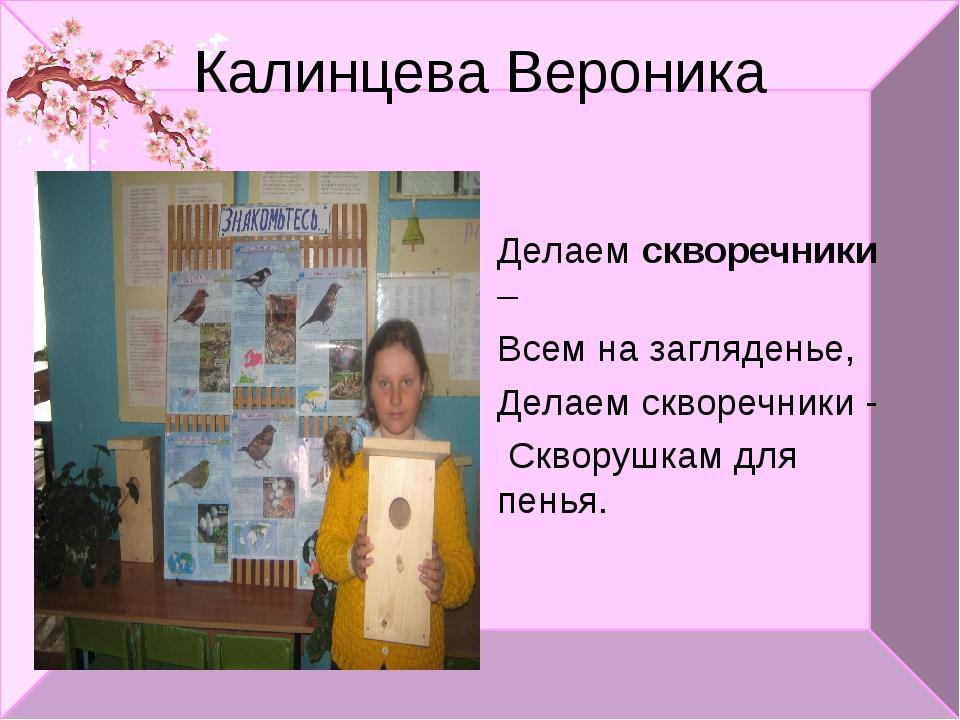 Калинцева Вероника Делаем скворечники – Всем на загляденье, Делаем скворечник...
