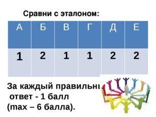 За каждый правильный ответ - 1 балл (mах – 6 балла). Сравни с эталоном: А Б В