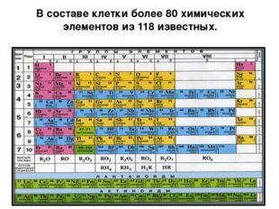 В составе клетки более 80 химических элементов из 118 известных.