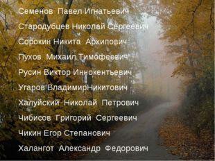 Семенов Павел Игнатьевич Стародубцев Николай Сергеевич Сорокин Никита Архипов