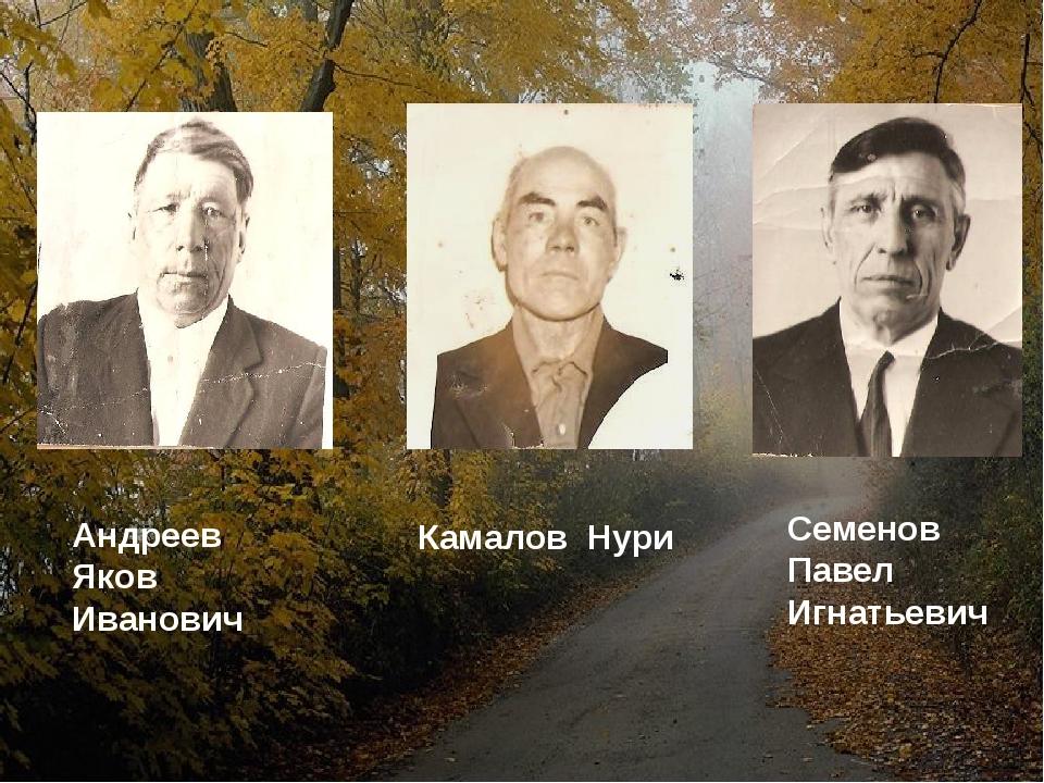Андреев Яков Иванович Камалов Нури Семенов Павел Игнатьевич