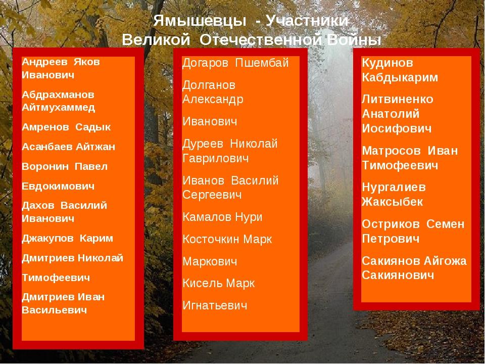 Ямышевцы - Участники Великой Отечественной Войны Андреев Яков Иванович Абдра...