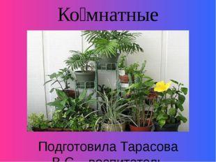 Ко́мнатные расте́ния . Подготовила Тарасова В.С. , воспитатель ГБОУ АО «Вычег