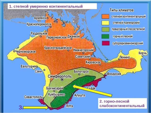 1. степной умеренно континентальный 2. горно-лесной слабоконтинентальный 3.