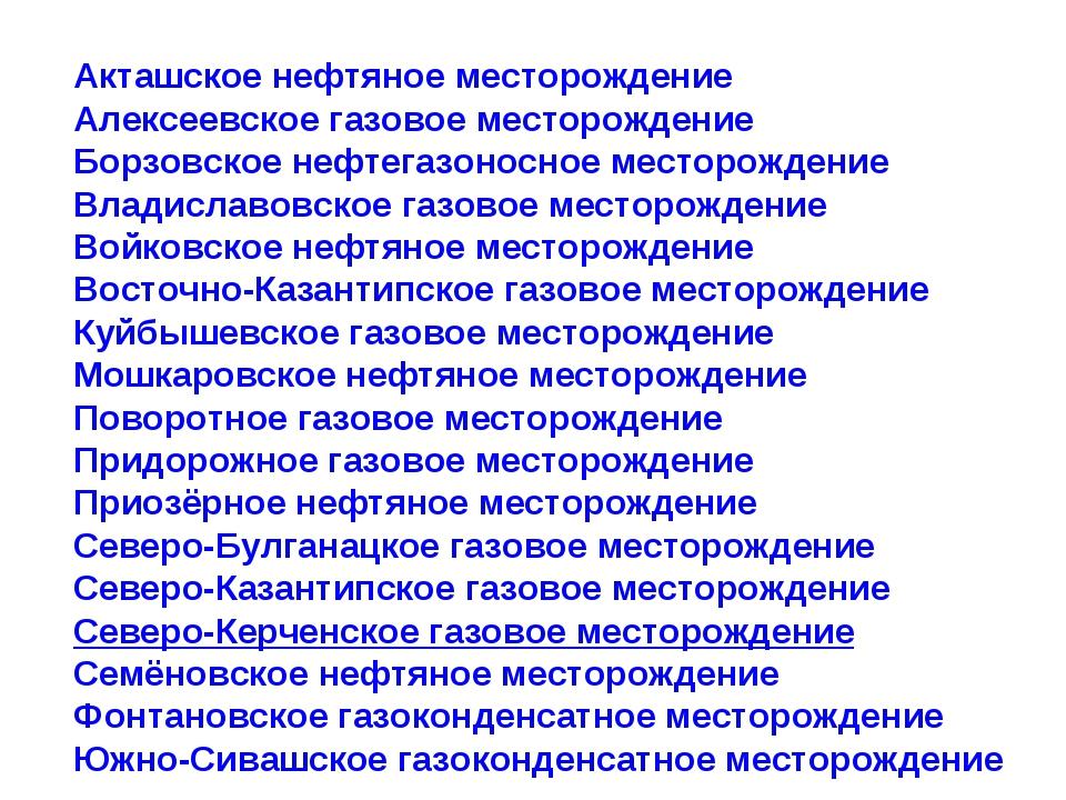 Акташское нефтяное месторождение Алексеевское газовое месторождение Борзовско...