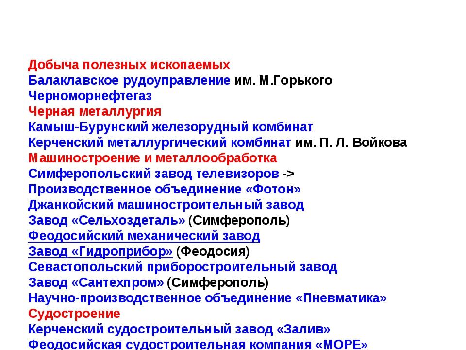 Добыча полезных ископаемых Балаклавское рудоуправлениеим. М.Горького Черномо...
