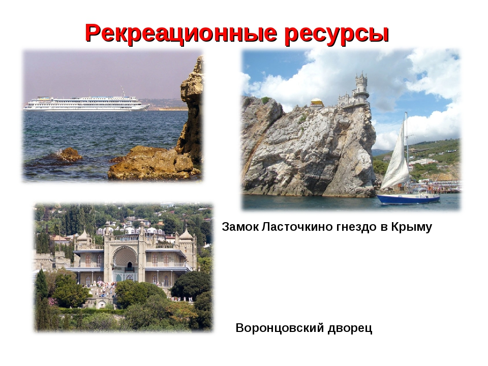 Рекреационные ресурсы Замок Ласточкино гнездо в Крыму Воронцовский дворец