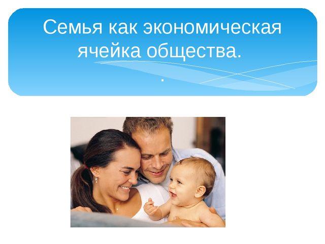 Семья как экономическая ячейка общества. .