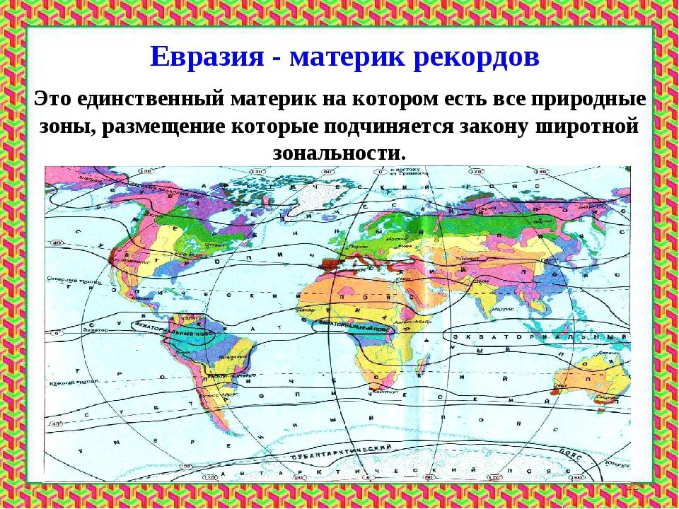 Евразия - материк рекордов * Это единственный материк на котором есть все при...