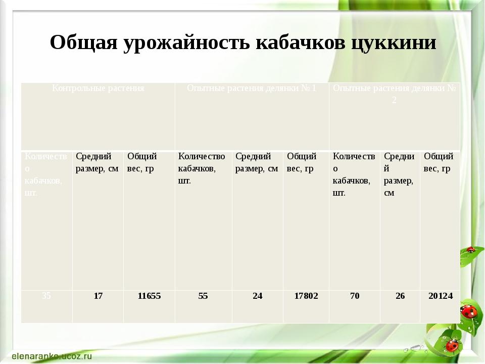 Общая урожайность кабачков цуккини Контрольные растения Опытные растения деля...