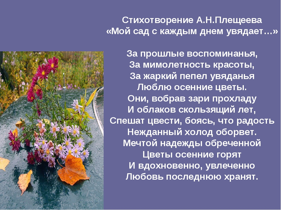 Стихотворение А.Н.Плещеева «Мой сад с каждым днем увядает…» За прошлые воспом...