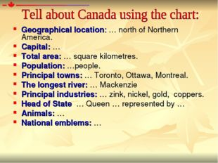 Geographical location: … north of Northern America. Capital: … Total area: …