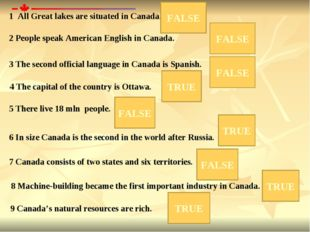 1 All Great lakes are situated in Canada. 2 People speak American English in