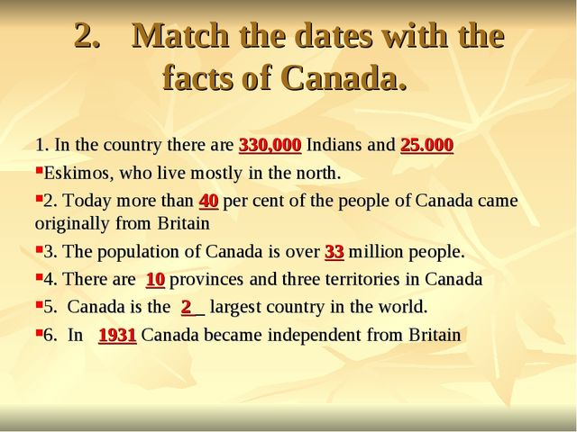 2.Match the dates with the facts of Canada. 1. In the country there are 330,...