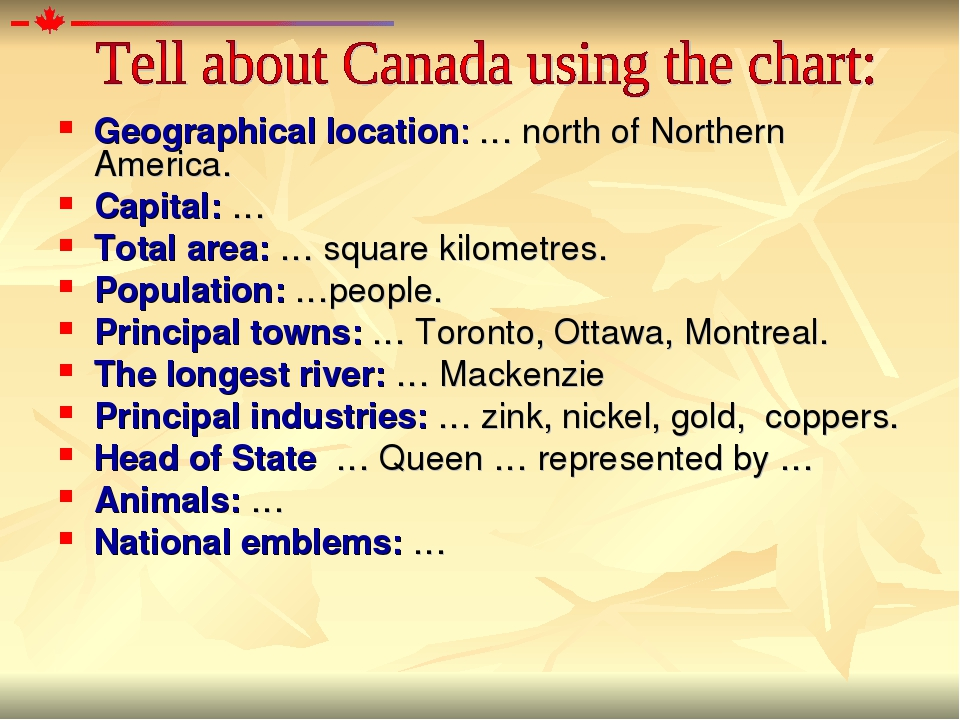 Geographical location: … north of Northern America. Capital: … Total area: …...
