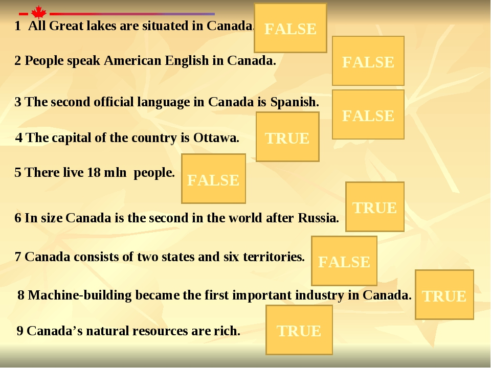 1 All Great lakes are situated in Canada. 2 People speak American English in...