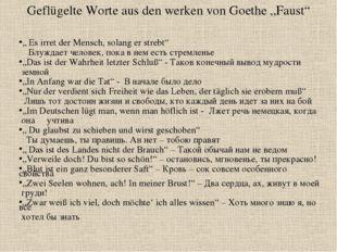 """Geflügelte Worte aus den werken von Goethe """"Faust"""" """" Es irret der Mensch, sol"""