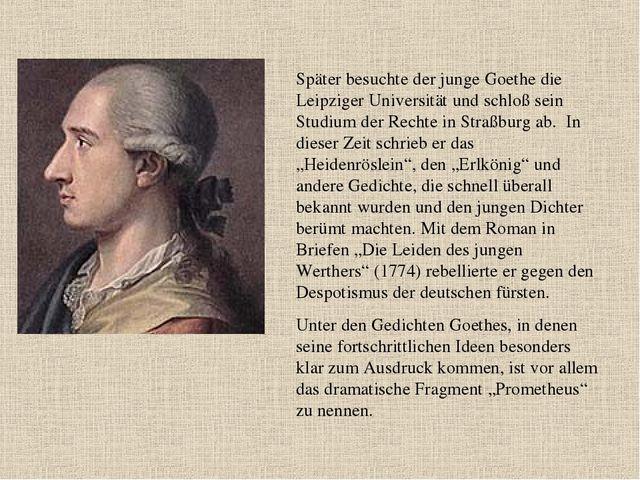 Später besuchte der junge Goethe die Leipziger Universität und schloß sein St...