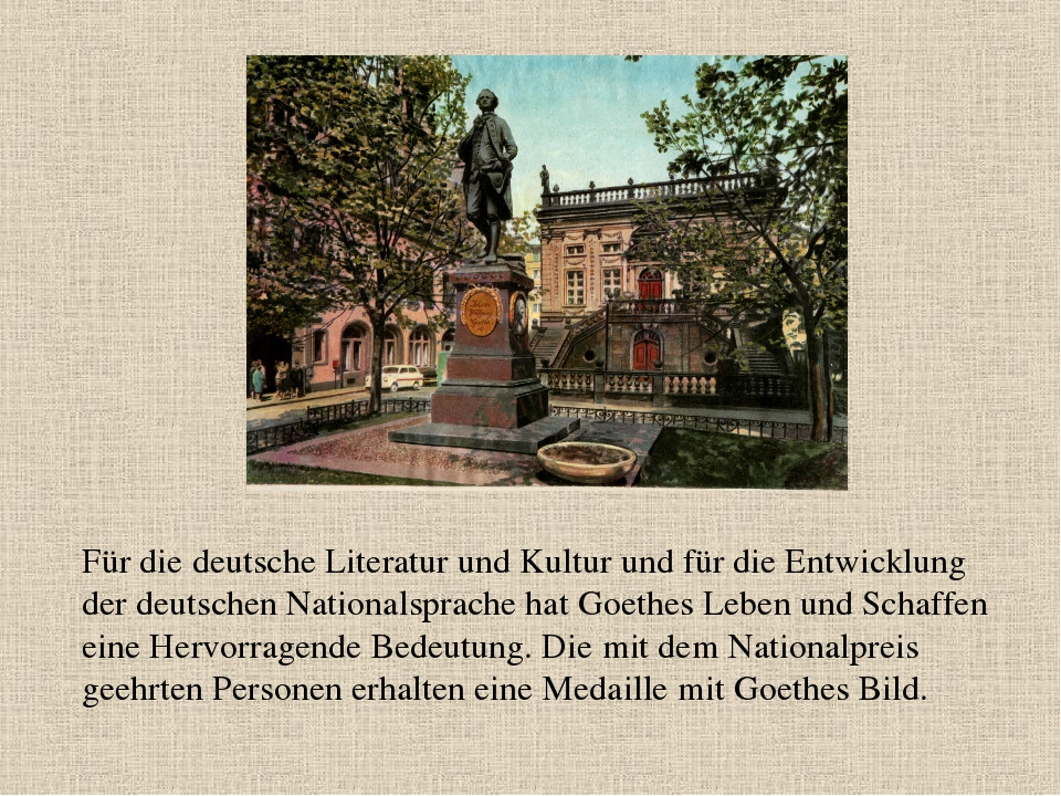 Für die deutsche Literatur und Kultur und für die Entwicklung der deutschen N...
