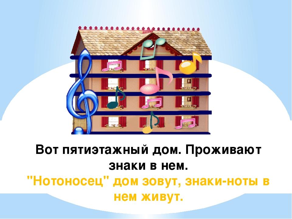 """Вот пятиэтажный дом. Проживают знаки в нем. """"Нотоносец"""" дом зовут, знаки-ноты..."""