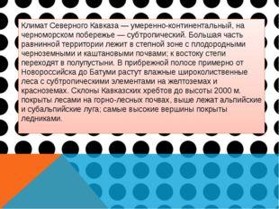 Климат Северного Кавказа — умеренно-континентальный, на черноморском побережь
