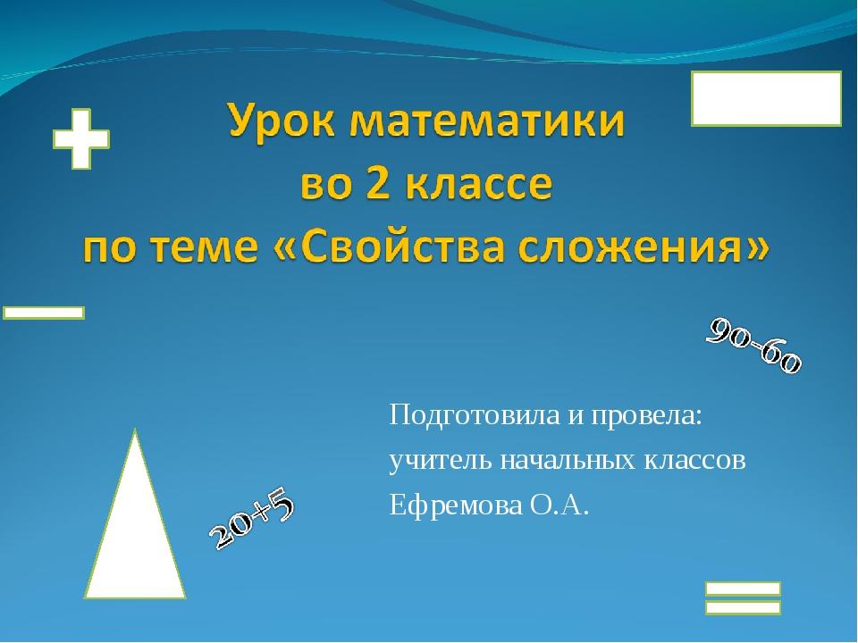 Подготовила и провела: учитель начальных классов Ефремова О.А.