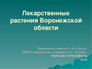 Лекарственные растения Воронежской области Выполнила ученица 5 «Б» класса МБО