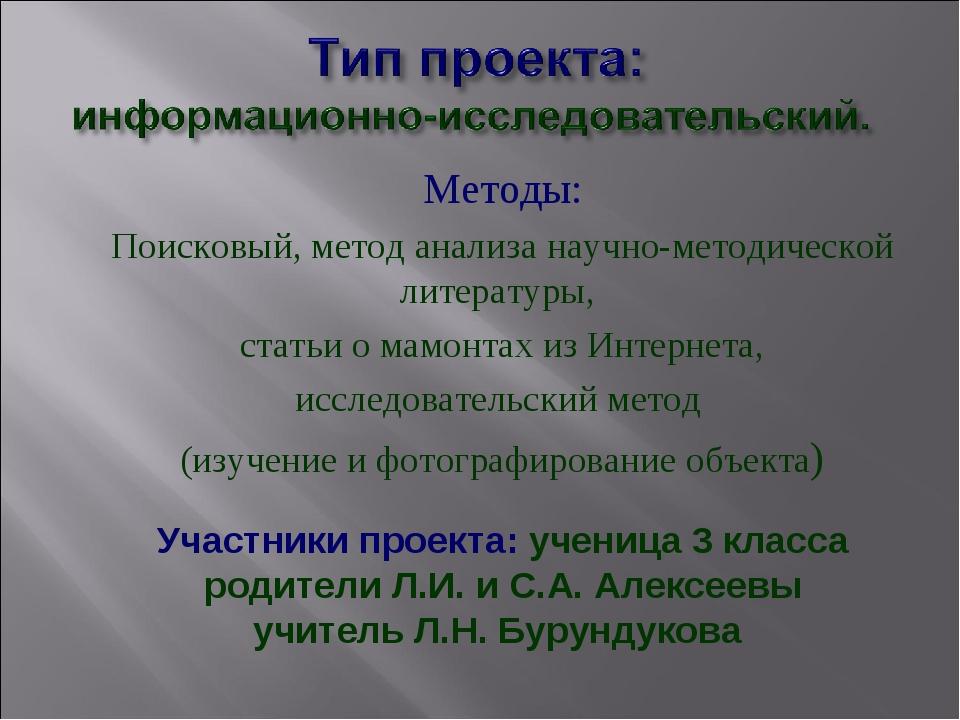 Методы: Поисковый, метод анализа научно-методической литературы, статьи о мам...