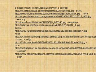 В презентации использованы рисунки с сайтов: http://rk.karelia.ru/wp-content/