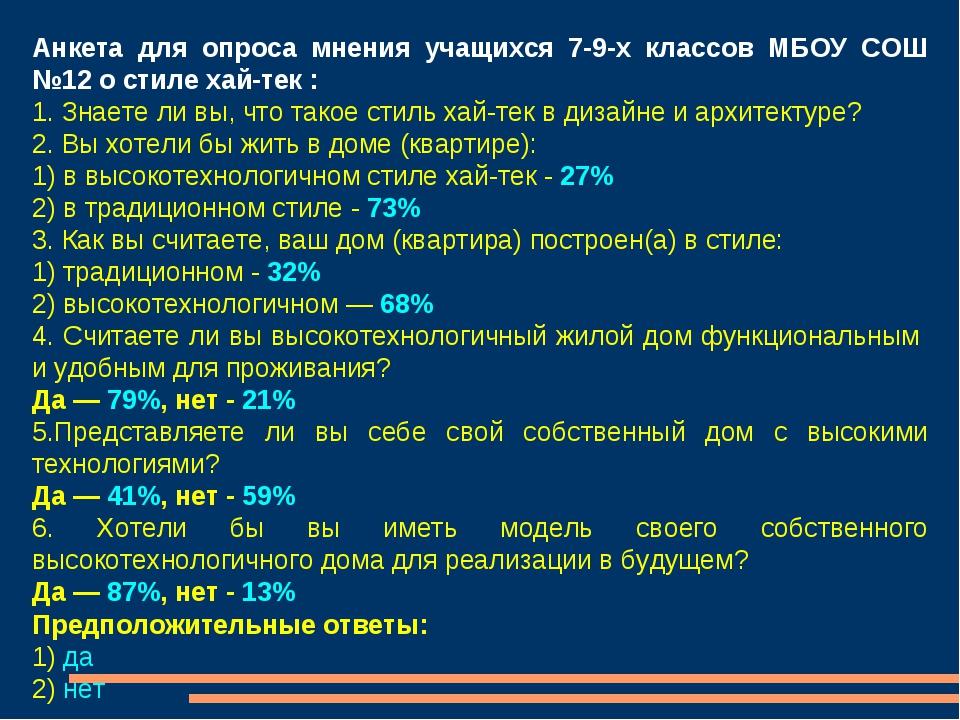Анкета для опроса мнения учащихся 7-9-х классов МБОУ СОШ №12 о стиле хай-тек...