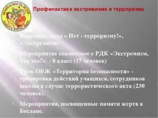 Профилактика экстремизма и терроризма Классные часы « Нет - терроризму!», «Эк