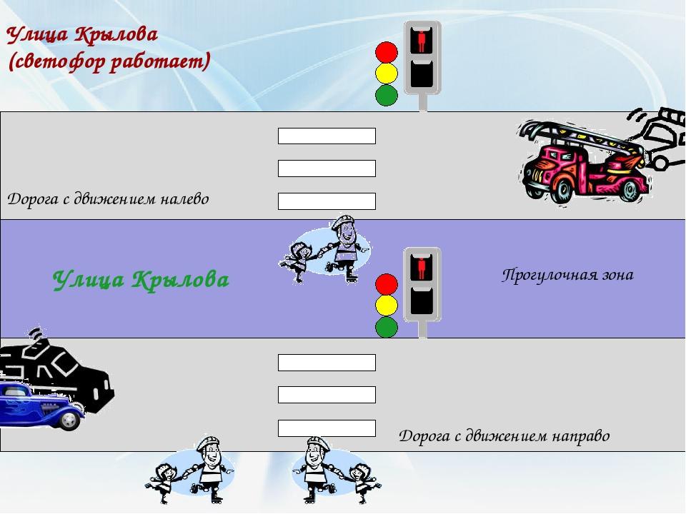 Улица Крылова Улица Крылова (светофор работает) Дорога с движением налево Дор...