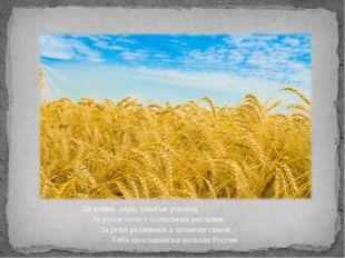 За ясные зори, умытые росами, За русое поле с колосьями рослыми, За реки разл