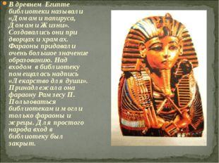 В древнем Египте библиотеки называли «Домами папируса, Домами Жизни». Создава