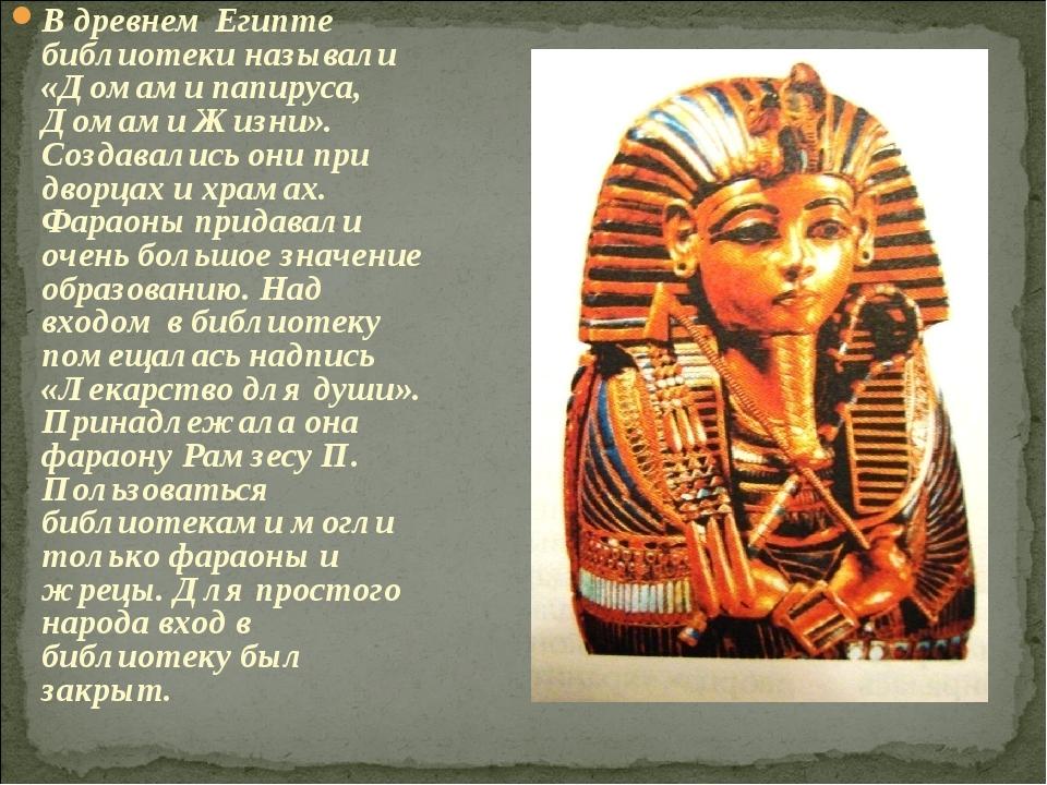 В древнем Египте библиотеки называли «Домами папируса, Домами Жизни». Создава...