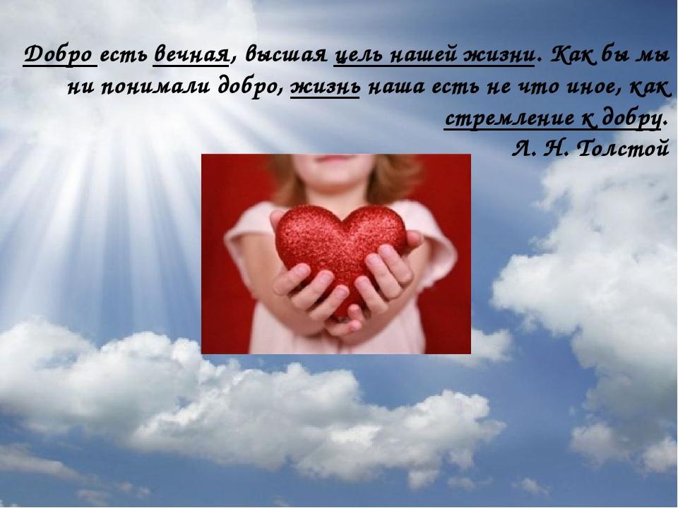 Добро есть вечная, высшая цель нашей жизни. Как бы мы ни понимали добро, жизн...