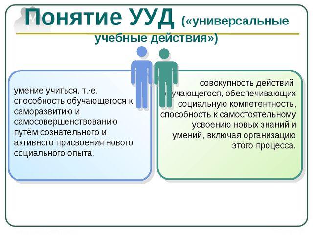 Понятие УУД («универсальные учебные действия») умение учиться, т.·е. способно...