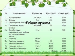 Бюджет проекта № Наименование Количество Цена (руб.) Сумма (руб.) 1. Рассада