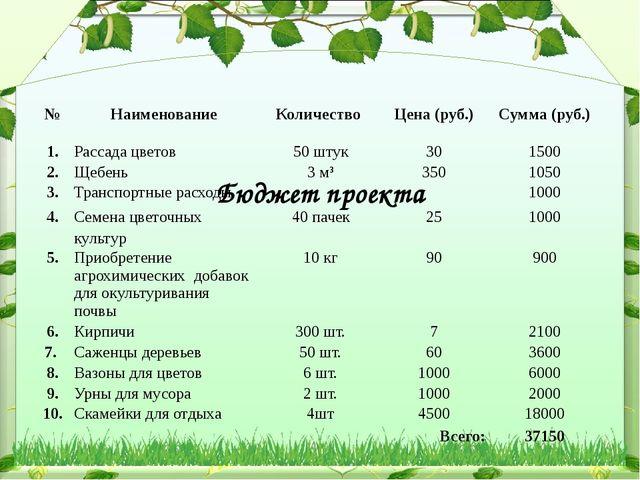 Бюджет проекта № Наименование Количество Цена (руб.) Сумма (руб.) 1. Рассада...