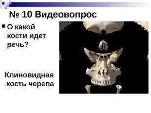 № 10 Видеовопрос О какой кости идет речь? Клиновидная кость черепа Для демонс
