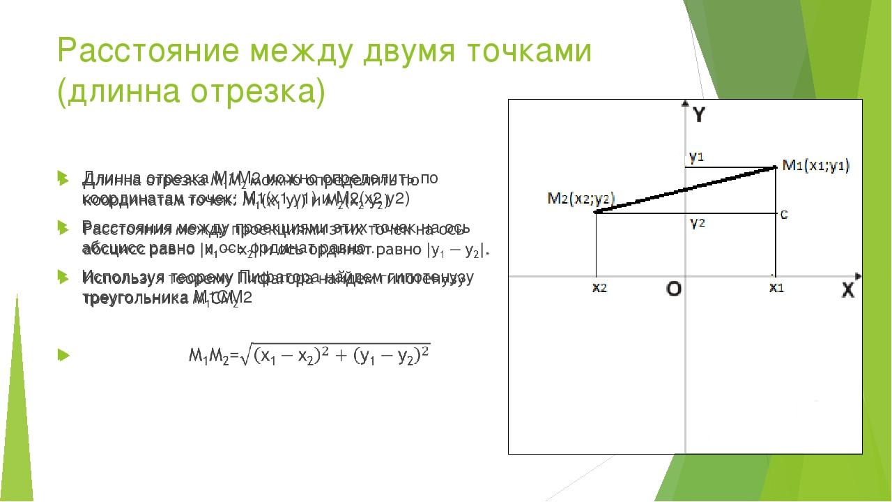 Расстояние между двумя точками (длинна отрезка)
