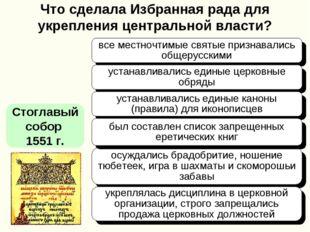 Что сделала Избранная рада для укрепления центральной власти? Стоглавый собор
