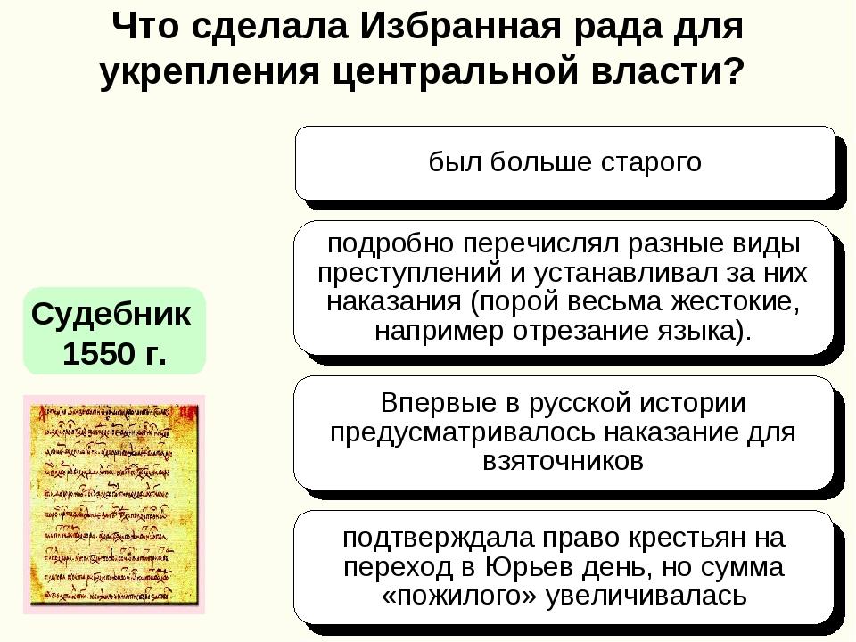 Что сделала Избранная рада для укрепления центральной власти? Судебник 1550 г...