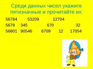 Среди данных чисел укажите пятизначные и прочитайте их: 4 53209 12704 345 670