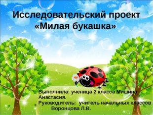 Выполнила: ученица 2 класса Мишина Анастасия. Руководитель: учитель начальных