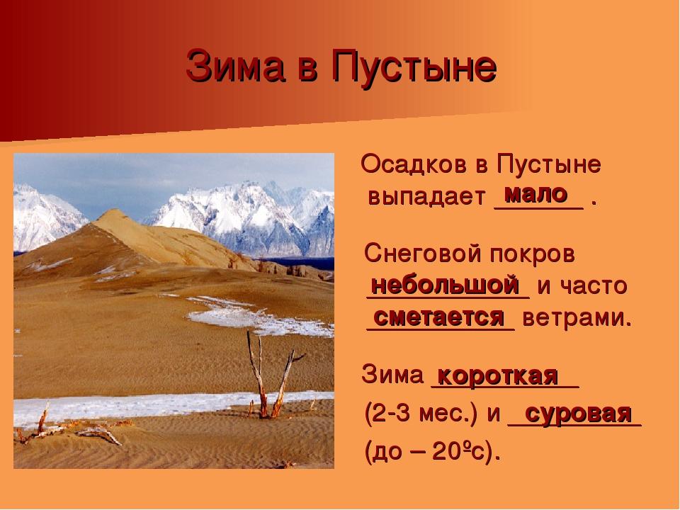 Зима в Пустыне Осадков в Пустыне выпадает ______ . Снеговой покров __________...