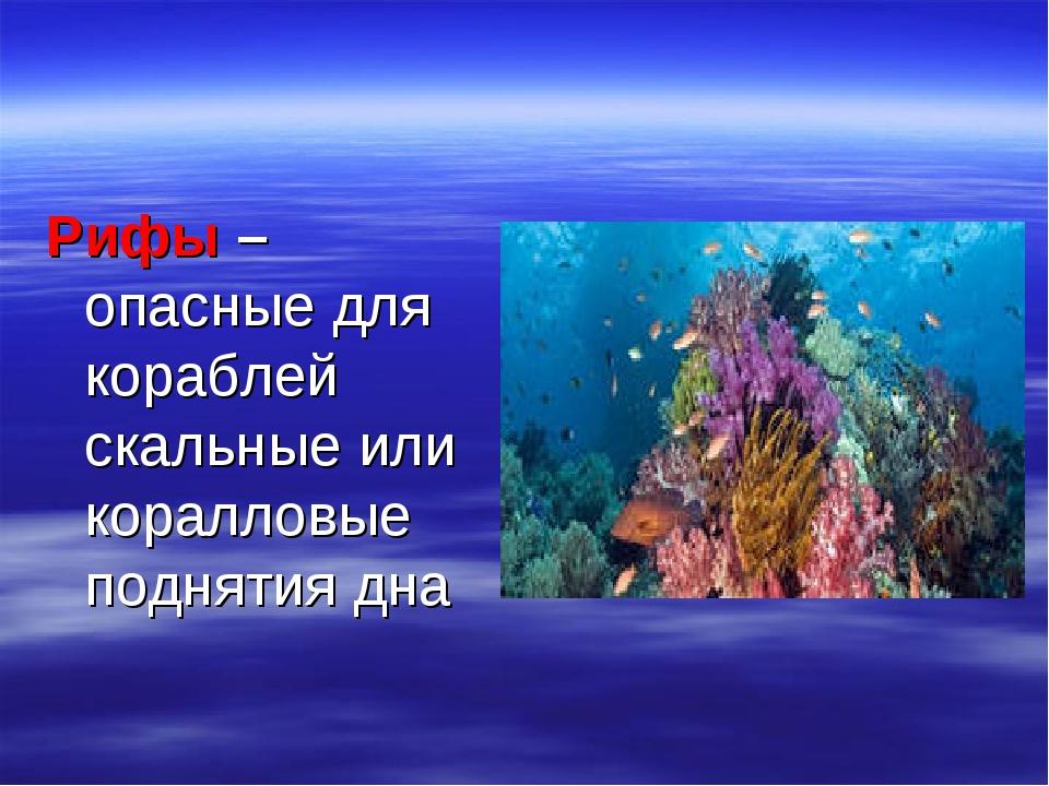 Рифы – опасные для кораблей скальные или коралловые поднятия дна
