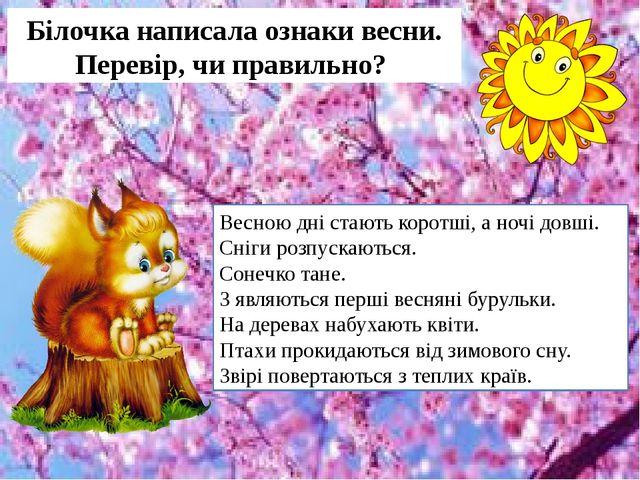 Білочка написала ознаки весни. Перевір, чи правильно? Весною дні стають корот...